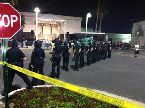Nike-Galaxy-All-Star-Display-in-Orlando-police-riot-formation