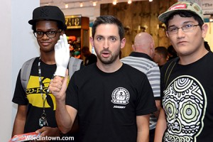 Johnny Cupcakes posing with some fans. Coffin Tour 2012 Miami Stop at Shoe Gallery